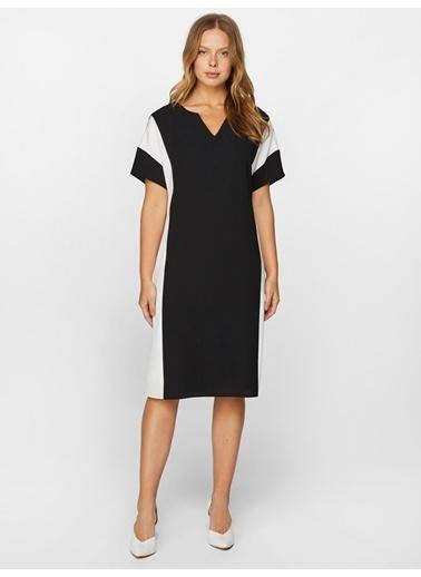 Faik Sönmez  Blok Renkli Elbise 60304 Siyah